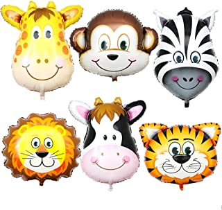 Elloapic 6 Pieces Big Size Jungle Animal Head Balloons Kit for Kids Gifts and Cute Safari Animals Theme Birthday Party Decorations, Six Floating in The Air Attract Children's Attention