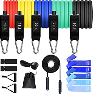 Simpeak 17 Pack Resistance Bands Set Workout Bands, Tube Fitness Bands Up to 150Lbs with Door Anchor/ Handles/Ankle Strap,...
