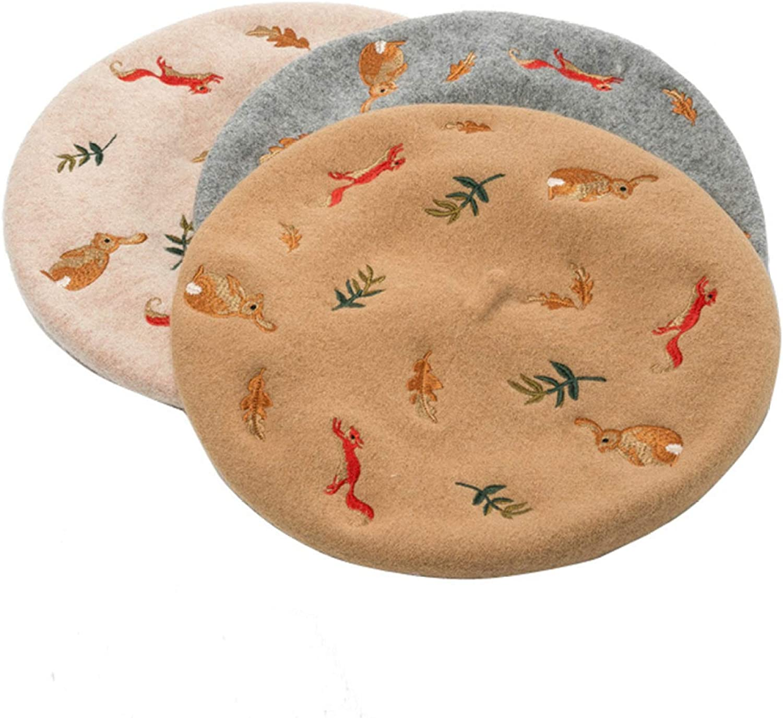 Women Embroidery Dress Berets Warm Artificial Wool Blend Animals Leaf Cabbie Hats Girls Lady Vintage Wedding Newsboy Caps