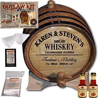 Personalized Whiskey Making Kit (063) - Create Your Own Irish Whiskey - The Outlaw Kit from Skeeter's Reserve Outlaw Gear - MADE BY American Oak Barrel - (Oak, Black Hoops, 2 Liter)