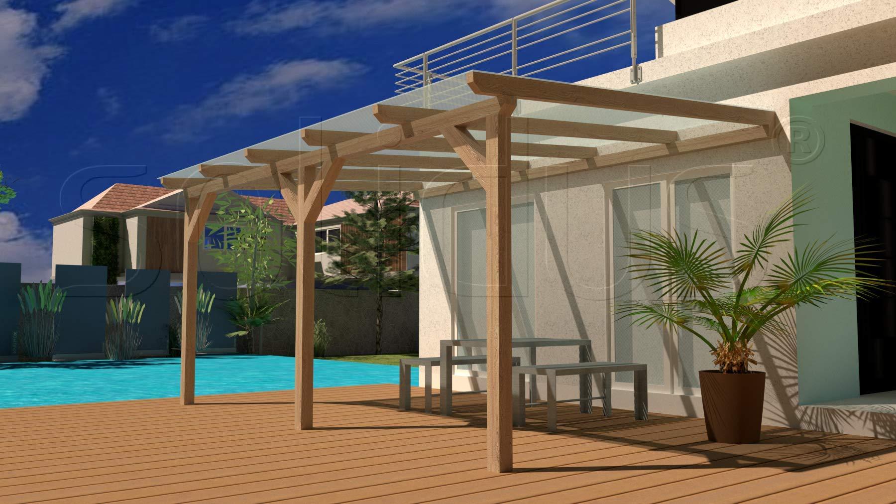 solidBASIC - Toldo para terraza de madera encolada de 700 x 200 cm (ancho x profundo) + planchas alveolares + accesorios – sin tratar/natural – cubierta para terraza de madera para el