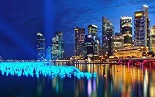 Wooden Puzzle 1000 Piece Jigsaw Puzzle for Adults - Singapore City Night Scene Pattern - Game Between Husband and Wife