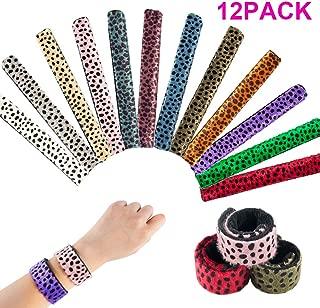 12pcs Slap Bracelets, Animal Print Slap Bracelets Leopard Slap Bracelet for Kids, Girls, Boys or Birthday Party