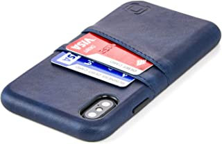 Dockem Exec M2 Wallet Case for iPhone Xs/X: Built-in Invisible Metal Plate, Designed for Magnetic Mounting: Slim Synthetic Leather Card Case with 2 Card Holder Slots: M-Series [Navy]