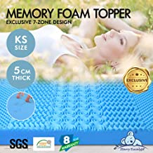 STARRY EUCALYPT Memory Foam King Single Mattress Topper 7 Zone 5cm Thickness Cooling Mat Pad Bamboo Fabric with 8-Year War...