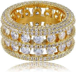 Anello Moca in Oro 18 carati con Diamanti incastonati in Oro Placcato Bling con Diamanti Simulati a Zirconia cubica per Uo...