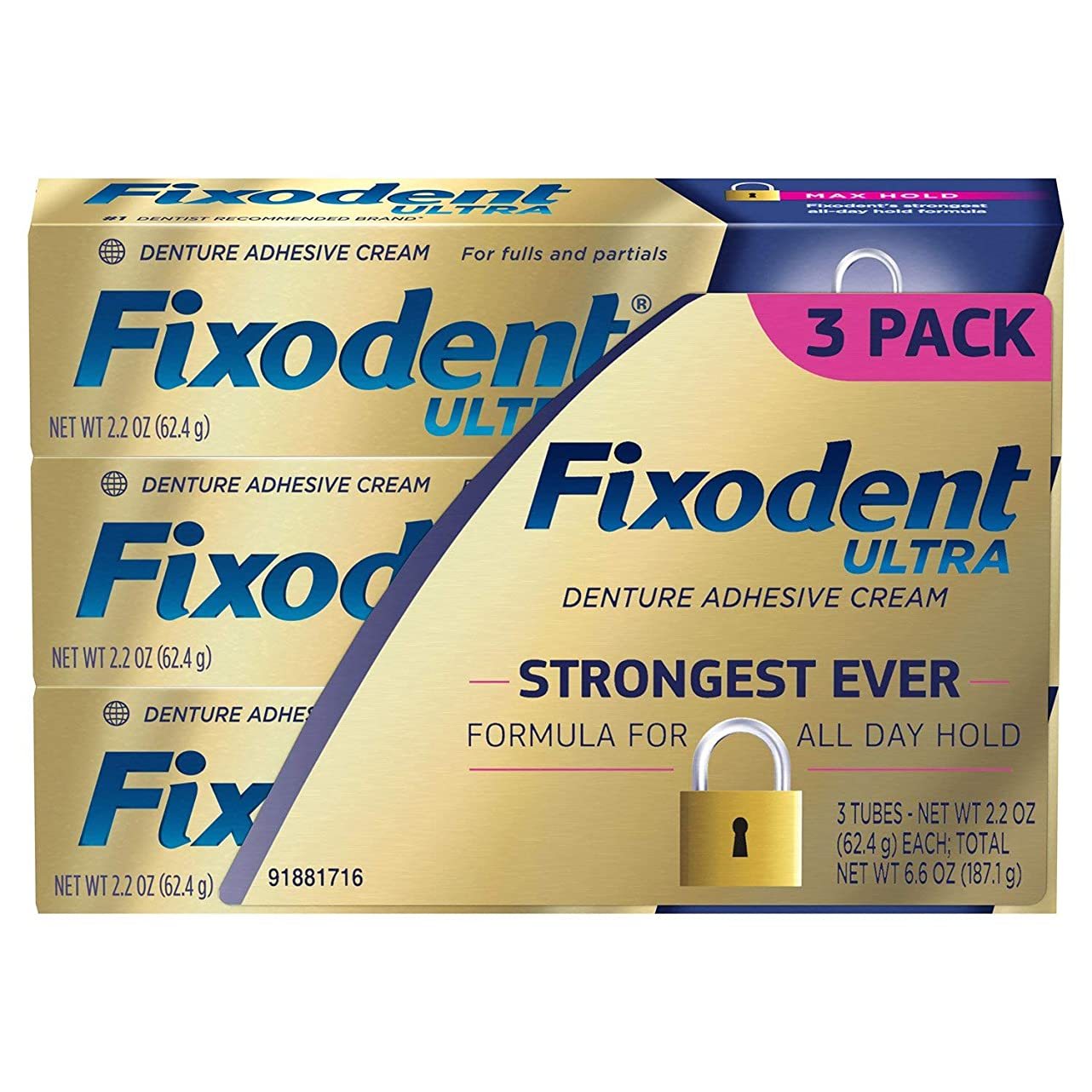 バッフル特派員願うFixodent ウルトラマックスホールド歯科用接着、2.2オンス - 3パック