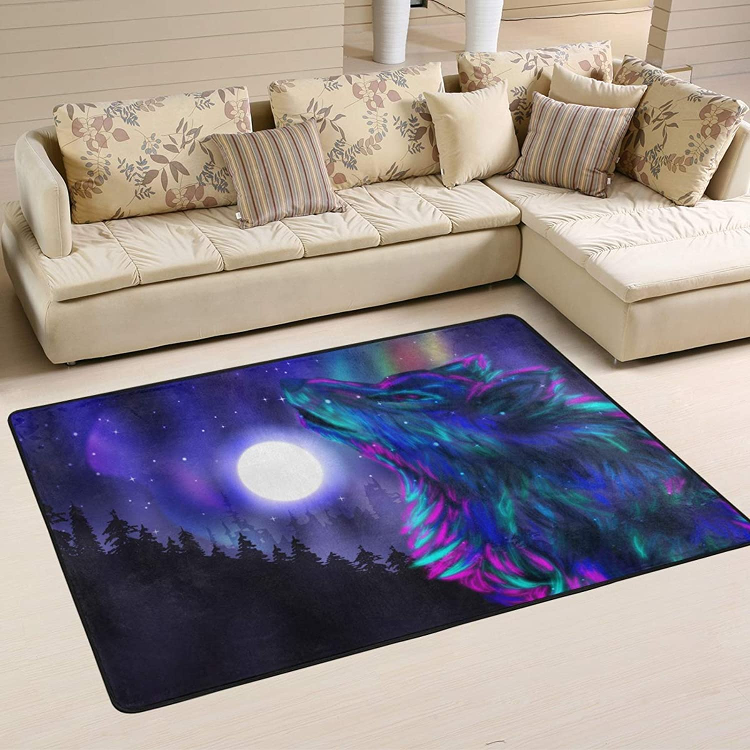 Area Rugs Doormats Wolf Howling Spirit Soft Carpet Mat 6'x4' (72x48 Inches) for Living Dining Dorm Room Bedroom Home Decorative