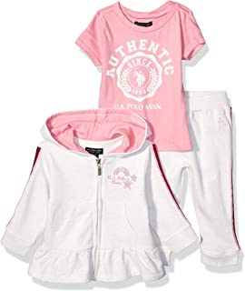 Baby Girl's Ruffle Peplum Jacket, T-Shirt, and Jogger Set...