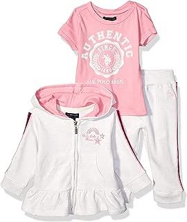 Baby Girl's Ruffle Peplum Jacket, T-Shirt, and Jogger Set...