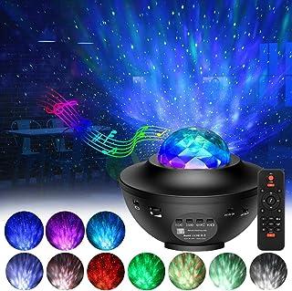 LED Star Projector, Kids Star Night Light Music Speak Light Show Night Lamp Ocean Wave Projector Light with Adjustable Lig...