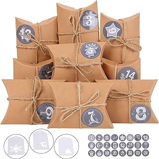 Ulikey Calendario Adviento, 24 Calendario de Adviento 1-24 Adhesivos Digitales de Adviento, Almohada Cajas de Regalo Navidad Decoración Navideña Vintage Papel Kraft (Marrón)