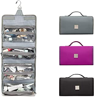 Best ROYALFAIR Hanging Toiletry Bag with Durable Hook Roll-Up Make Up Organizer and Travel Bag - 4 Removable Cosmetic Bags Suit for Men or Women (Grey) Review