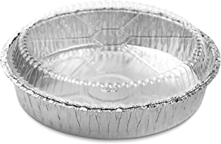 [45 Pack] Round 9 Inch Disposable Aluminum Foil Pan Take Out Food Containers with Clear Plastic Dome Lids, Steam Table Baking Pans, 46 oz, 2.9 lb, 1.5 Quart