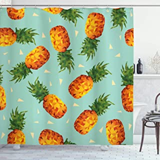 Ambesonne Retro Shower Curtain, Poly Style Pineapples Motif Vintage Beach Summer Modern Illustration, Cloth Fabric Bathroom Decor Set with Hooks, 70