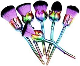 6 Piece Rose Gold Pink Makeup Brushes Set Powder Soft Make Up Tool Professional Natural Beauty Palette Eyeshadow Deluxe Popular Eyes Faced Colorful Rainbow Hair Highlights Glitter Travel Kit, Type-03
