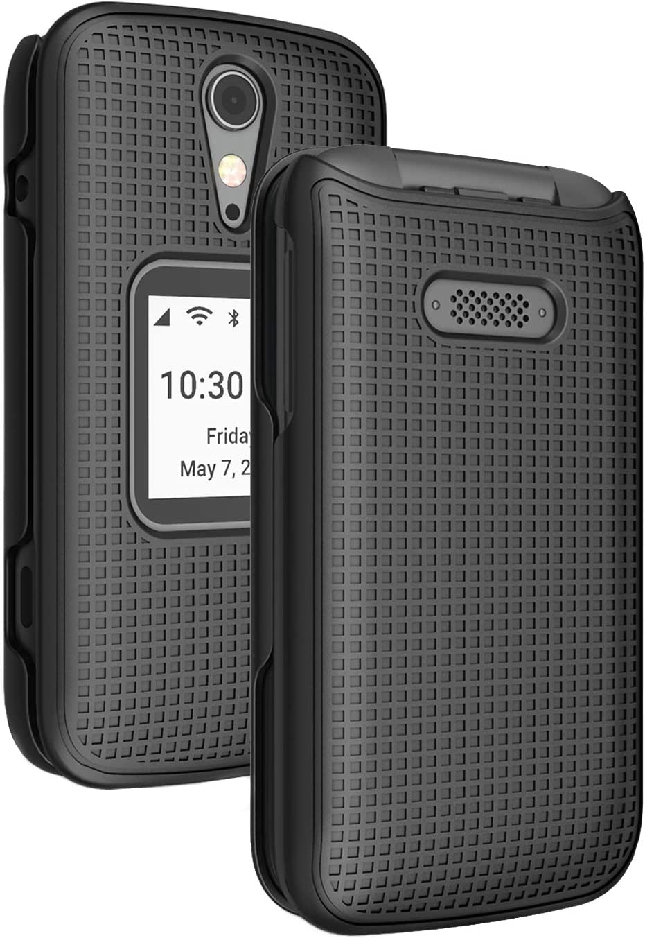 Case for Jitterbug Flip2, Nakedcellphone [Black] Protective Snap-On Hard Shell Cover [Grid Texture] for Jitterbug Flip 2 Phone (aka Lively Flip) (4053SJ7)