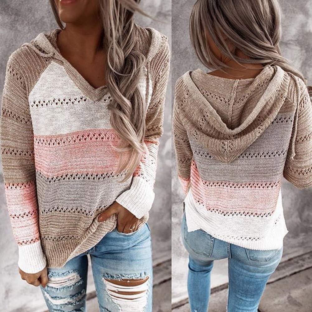 Minetom Damen Knit Hoodie Sweatshirts Langarm Hoodies Casual Patchwork Stricken Kapuzenpullover Gestrickt Herbst Pullover Tops A Rosa