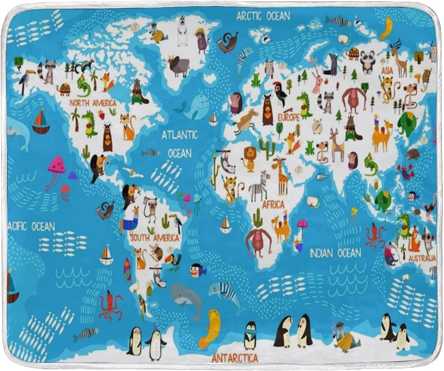 U LIFE Cute Animal World Map Soft Fleece Throw Blanket Blankets for Nap Couch Bed Kids Adults 50 x 60 inch