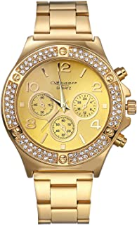 Avaner Luxury Iced Out Pave Gold-Tone Womens Mens Rhinestone Analog Dial Quartz Wrist Watch Stainless Steel Charm Bracelet