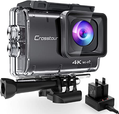 Crosstour 【2021 Upgraded Nativo 4K50FPS Super Anti Shake Avanzato Action Cam 20MP WiFi 40M Impermeabile Fotocamera Su...