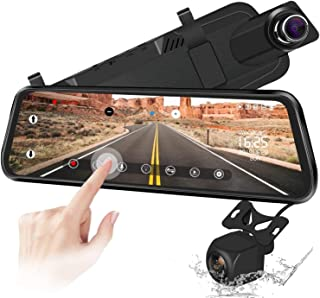 Dash Cam,Mirror Backup Camera 10 Inch Touch Screen 1080P Streaming Vehicle Media Dual Lens Full HD Reverse Camera 170°Wide...