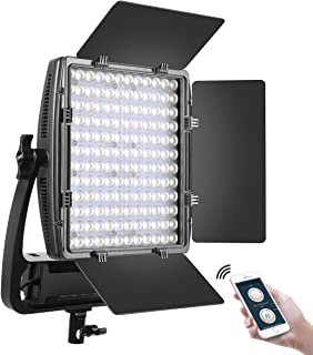 GVM LED Video Lighting Panel with (1 Pack) Optical Lens, 50W Bi-Color 2X Ultra Bright, 3200K-5600K High CRI/TLCI 97+ Professional Studio Photography Lighting withAPP Barn Doors Soft Diffuser