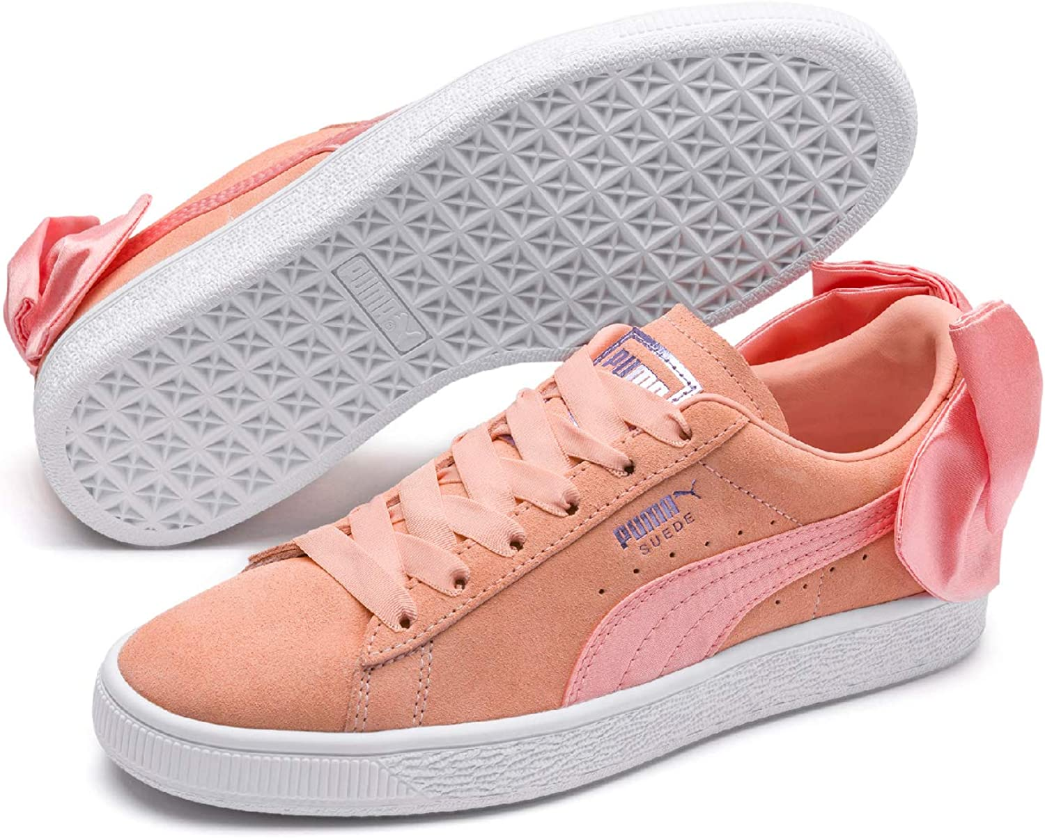 Puma Women's Suede Bow WN's Low-Top Sneakers, Pink (Peach Bud White), 6 UK