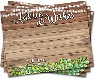 Oh Boy Love It 50 Advice Cards Rustic Wood Greenery - Wedding, Bridal Shower, Retirement, Graduation, Any Occasion, Fun Party Activity Keepsake, Includes Sticker for Hostess