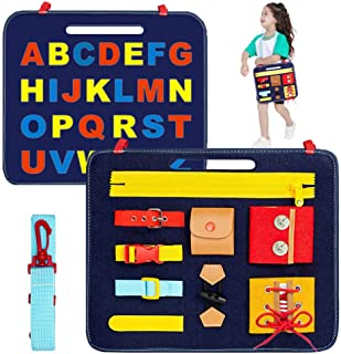 FEISIKE Busy Board- Montessori Basic Skills Activity Toys for Toddlers 2 3 4 Years Old Early Education,Learning Fine Motor Skills & Learn to Dress and Spell,Travel&Sensory Toy for Airplane or Car.