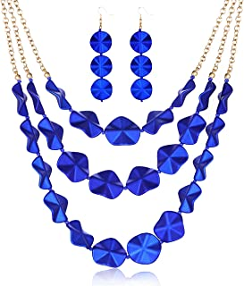 PHALIN Rose Petal Collar Necklace Earrings Set Statement Layered Floral Strand Chunky Bib Necklaces Acrylic Petal Dangle D...