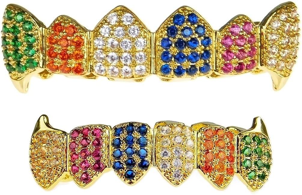 18K Gold Plated Fang Grillz Set Multi-Color CZ Bling Cubic Zirconia Teeth Hip Hop Rainbow Clown Grills