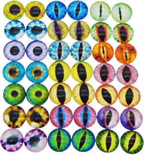 JJG 60PCS(30Pairs) 12mm Mixed Style Dragon Eyes Doll Eyes Half Round Glass Dome Cabochons for Doll Puppet or DIY Jewelry Making