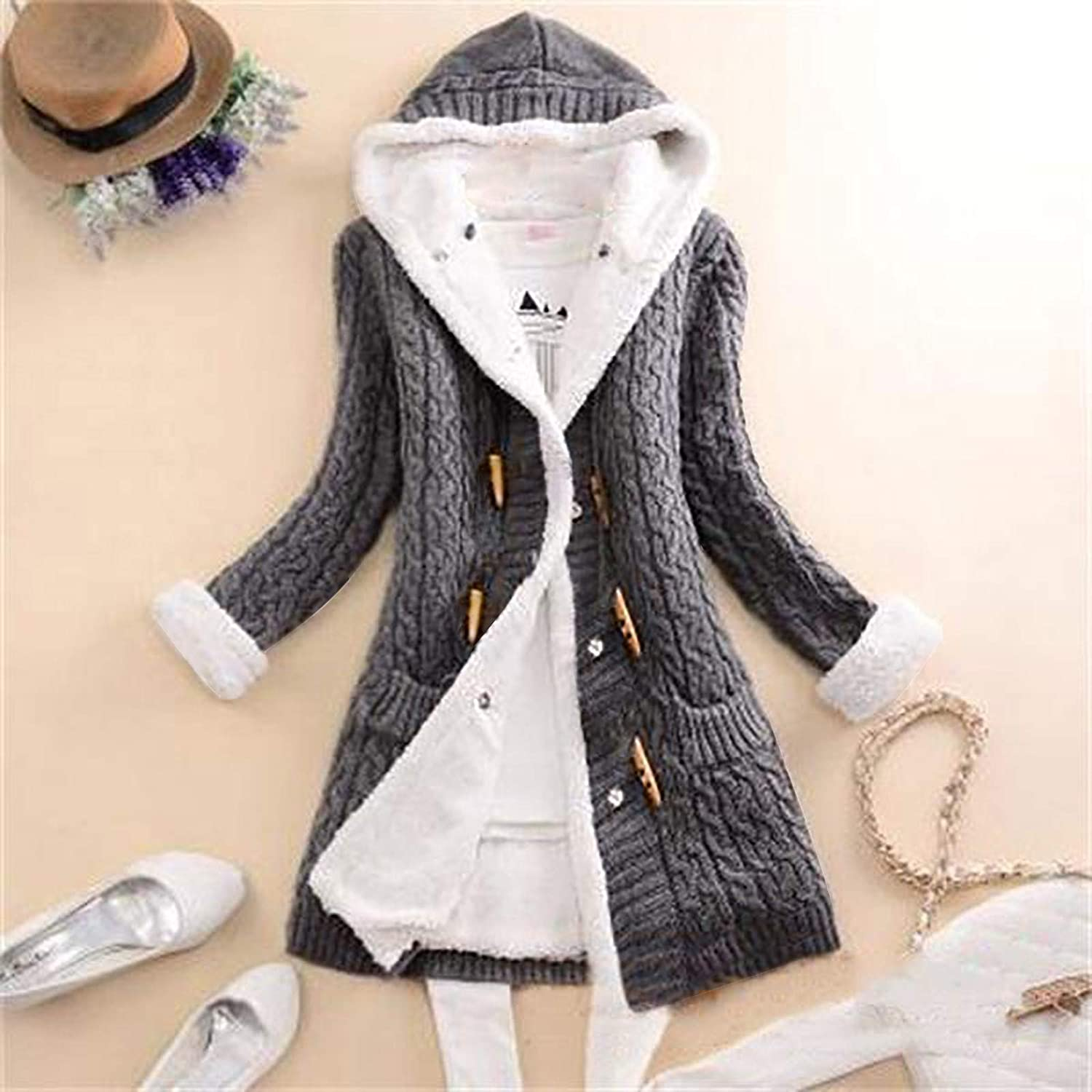 Plus Size New Winter Cashmere Sweater Thick Warm Hooded Sweater Coat Korean Slim Double-Breasted Thick Knitted Long Cardigan