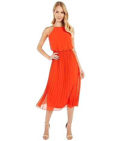 Sam Edelman Poly Chiffon Sleeveless Midi Dress (Coral) Women