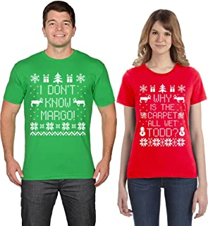 Todd and Margo Best Couples Ugly Sweater Why is The Carpet All Wet T-Shirts
