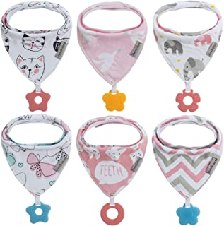 Baby Bandana Drool Bibs 6-Pack and Teething Toys 6-Pack Made with 100% Organic Cotton, Absorbent and Soft Unisex (Vuminbox)