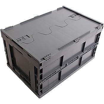 CAJA PLEGABLE CON TAPA 61L, caja plegable de plastico, caja de transporte, cesta de la compra, 60x40x33cm, gris: Amazon.es: Bricolaje y herramientas