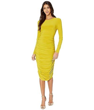 KAMALIKULTURE by Norma Kamali Long Sleeve Shirred Dress (Citrus) Women
