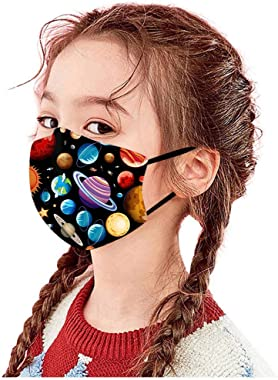 Jqieown 6 Pcs Merry Christmas Face Coverings for Toddlers Washable Reusable Planet Print Mouth Protector for Outdoors Protect