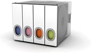 Atlantic Polypropylene Sleeve Disc Organizer - Stack & Lock, Categorize CDs in 4 Color-Coded Binders for 96 Discs Total in White, PN96635495