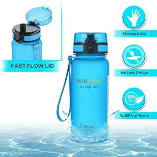 Vacucraft Sports Water Bottle with No Leak Fast Flow Lid and Smart Design for One Handed Use, BPA Free Tritan Plastic, More Durable Than Glass Water Bottle