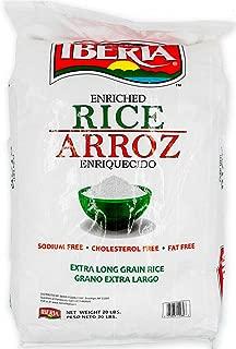 Iberia Enriched Extra Long Grain Rice, 20 lb, Sodium Free Rice, Cholesterol Free Rice, Fat Free Rice, Bulk 20 lb Rice
