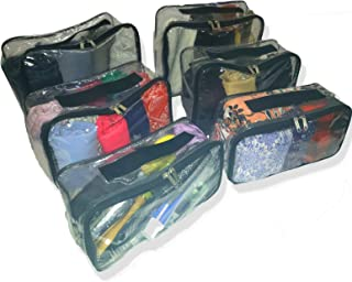 Packing Cubes Set for Travel 6 pk Clear Vinyl Zippers Carry Handle 3 Sizes Storage Bags Cosmetics Camping Easy clean with ...