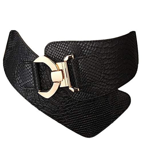 1bbea194c74 JasGood Women s Fashion Snake Pattern Wide Elastic Stretch Adjustable Waist  Cinch Belt Waistband