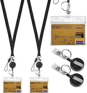 Jinlaili Collier de Lanière en Cristal, 2 Pcs Lanière Collier avec Porte-Carte d'Identité, Porte-Badge Transparent et Sang...