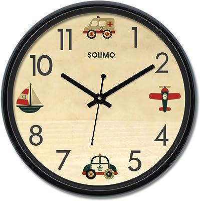 Amazon Brand - Solimo 12-inch Wall Clock - Travelbug (Silent Movement)