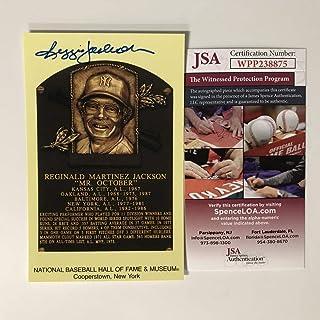 Autographed/Signed Reggie Jackson HOF Hall Of Fame Baseball Plaque Postcard JSA COA