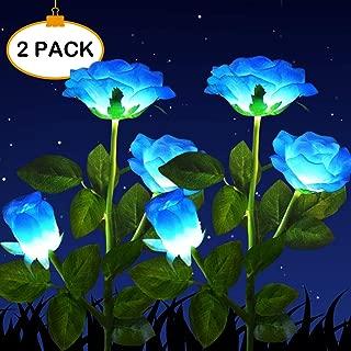 HELESIN Solar Powered Garden Decorations Lights, LED Rose Flower Garden Decorative Stake Lights for Garden, Courtyard, Backyard Decoration, Waterproof (Blue)