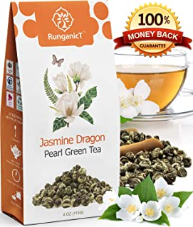 Organic Jasmine Green Tea Pearls Authentic Imperial Dragon Pearls Flowering Strings of Loose Leaf Green Tea that Brings you Focus with Stress Relieving Jasmin Aroma (04)